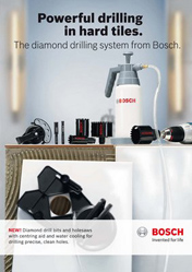 Powerful drilling in hard tiles. The diamond drilling system from Bosch.