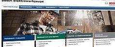 Relançamento das páginas de Internet das ferramentas eléctricas Bosch
